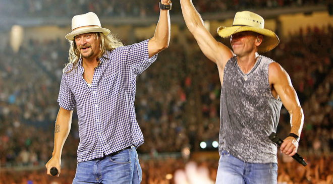 Country music star, Kenny Chesney shares stage with Kid Rock in his Detroit